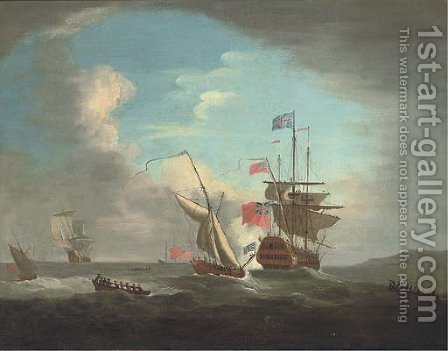 An Admiralty Yacht joining a Squadron of the Red sailing offshore by (after) Peter Monamy - Reproduction Oil Painting