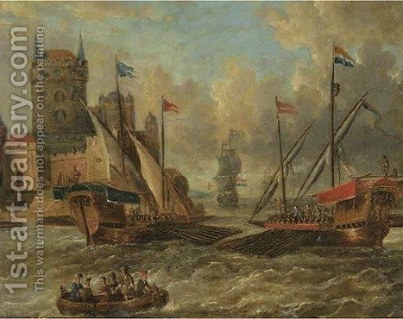 Two galleons and other shipping in choppy waters, by a city gate by (after) Petrus Van Der Velden - Reproduction Oil Painting