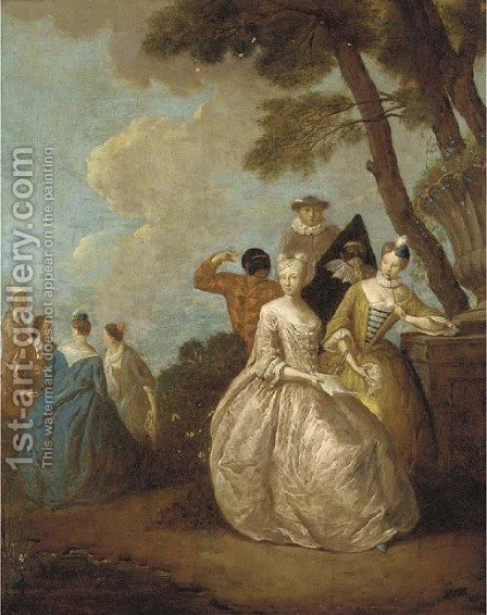 A fete champetre with ladies seated by a tree and figures from the commedia dell'arte by (after) Petrus Johannes Van Reyschoot - Reproduction Oil Painting