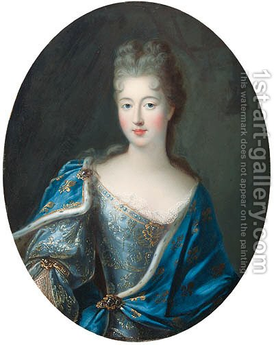 Portrait of Franoise-Marie de Bourbon, Mademoiselle de Blois, Duchesse d'Orleans (1677-1749), half-length, in an embroidered blue dress by (after) Pierre Gobert - Reproduction Oil Painting