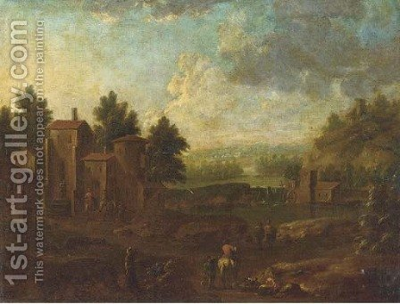 A river landscape with figures on a track, a village beyond by (after) Pieter Bout - Reproduction Oil Painting