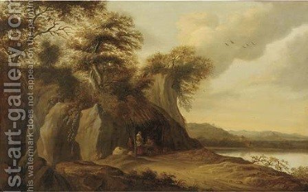 A river landscape with a merchant selling his wares beneath a straw canopy by a grotto by (after) Pieter Jansz. Van Asch - Reproduction Oil Painting