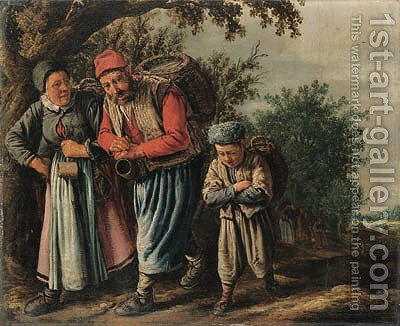 A peasant family carrying baskets on a track on the way to market by (after) Pieter De Molyn - Reproduction Oil Painting
