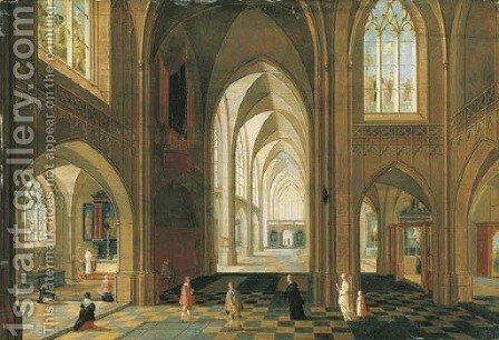 The interior of a Gothic cathedral looking east by (after) Pieter The Younger Neefs - Reproduction Oil Painting