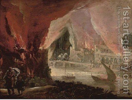 Aeneas fleeing burning Troy with Anchises and Ascanius by (after) Pieter Schoubroeck - Reproduction Oil Painting