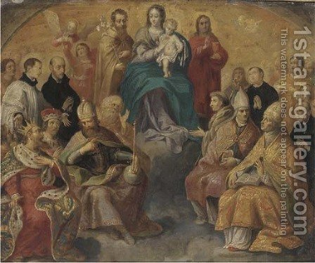 The Virgin and Child in Glory with attendant Saints by (after) Peeter Sion - Reproduction Oil Painting