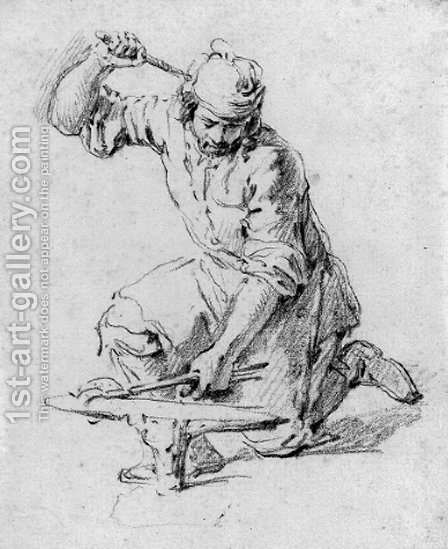 A blacksmith kneeling at his anvil by (after) Pieter Van Bloemen - Reproduction Oil Painting