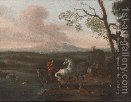A riverside landscape with bathers and a horseman; and Figures at halt before a military encampment by (after) Pieter Van Bloemen - Reproduction Oil Painting