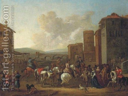 An Italianate town with horsemen, elegant figures and merchants, a bridge beyond by (after) Pieter Van Bloemen - Reproduction Oil Painting