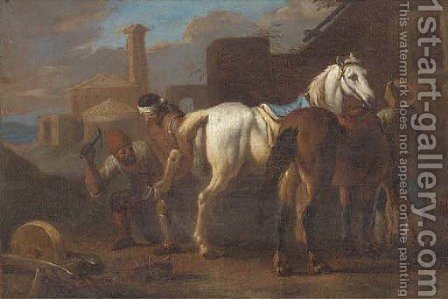 Farriers working on a horse in a village by (after) Pieter Van Bloemen - Reproduction Oil Painting