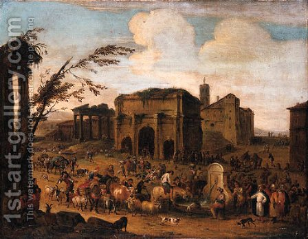 A Capriccio of a Roman Marketplace with Peasants and Levants at a Fountain by (after) Pieter Van Bredael - Reproduction Oil Painting