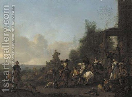 A hawking party at rest near a fountain by (after) Pieter Wouwermans Or Wouwerman - Reproduction Oil Painting