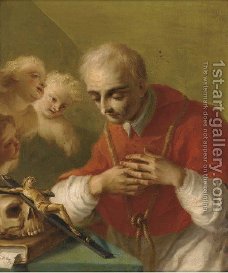 Saint Charles Borromeo by (after) Pietro Bardellino - Reproduction Oil Painting
