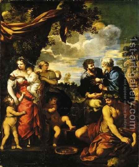 The meeting of Jacob and Laban by (after) Cortona, Pietro da (Berrettini) - Reproduction Oil Painting