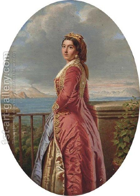 A Neapolitan beauty by (after) Pietro Cola - Reproduction Oil Painting