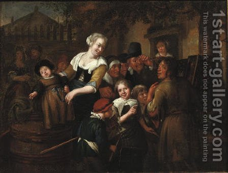 A street pedlar showing his wares to a group of children by (after) Richard Brakenburgh - Reproduction Oil Painting