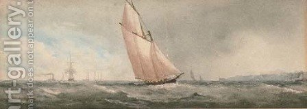 A big cutter under full sail by (after) Richmond Markes - Reproduction Oil Painting