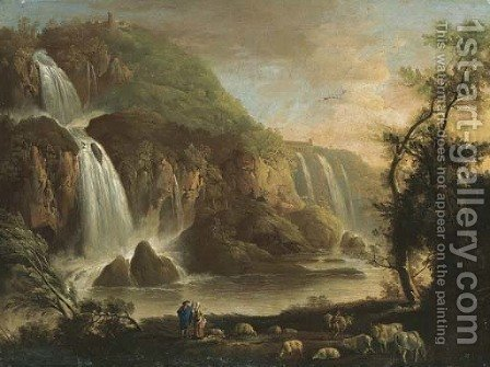 View Of The Falls At Tivoli And The Villa Of Maecanas Beyond by (after) Robert Carver - Reproduction Oil Painting