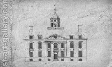Design for a country house with ogee dome, with subsidiary studies of the dome and entablature by (after) Robert Hooke - Reproduction Oil Painting