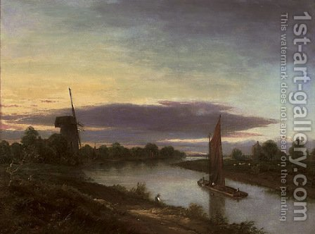 Boats on a river, a windmill beyond by (after) Robert Ladbrooke - Reproduction Oil Painting