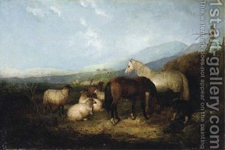 Horses with a flock of sheep by (after) Robert Watson - Reproduction Oil Painting