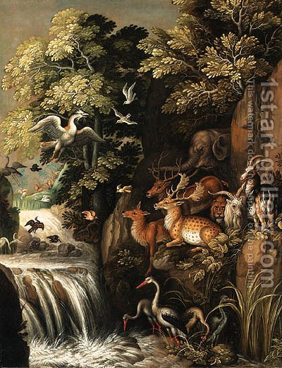 Deer, goats, an elephant and other animals by a waterfall by (after) Roelant Savery - Reproduction Oil Painting