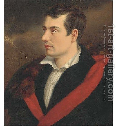 Portrait of the poet, George Gordon Byron, 6th Baron Byron (1788-1824) by (after) Samuel Drummond - Reproduction Oil Painting