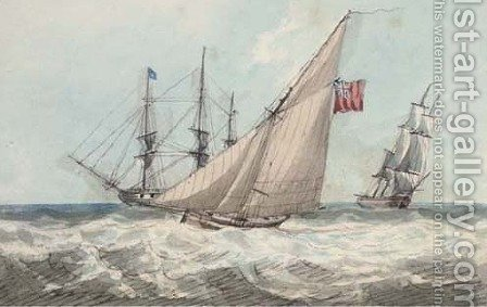 A cutter working up to the frigate at anchor (illustrated) by (after) Samuel Owen - Reproduction Oil Painting