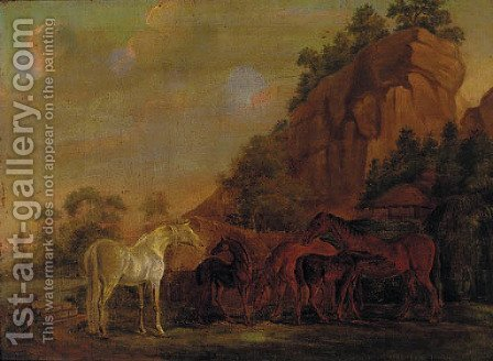 Mares and foals by a rocky outcrop by (after) Sawrey Gilpin - Reproduction Oil Painting