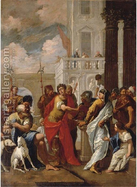 The Head of Pompey delivered to Caesar by (after) Sebastiano Ricci - Reproduction Oil Painting