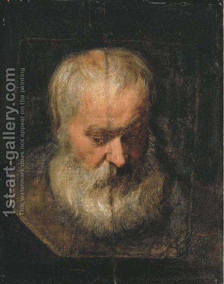 A head study of a bearded man by (after) Dyck, Sir Anthony van - Reproduction Oil Painting