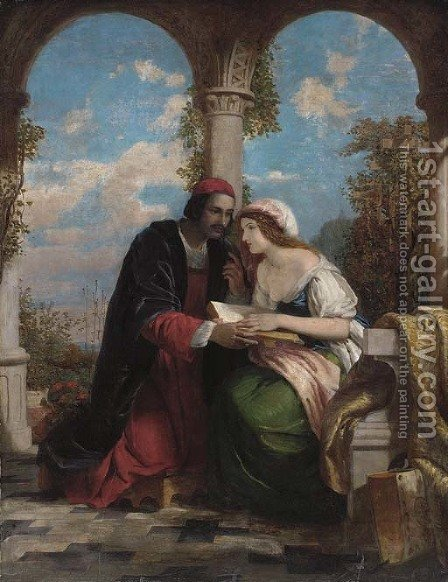 Abelard and Heloise on a terrace by (after) Eastlake, Sir Charles Lock - Reproduction Oil Painting