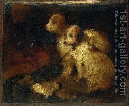 Study of Two Dogs by (after) Sir Edwin Henry Landseer - Reproduction Oil Painting
