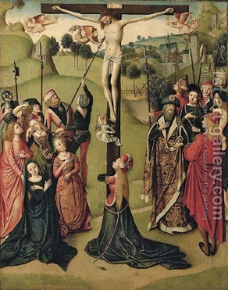 The Crucifixion by (after) The Master Of The Tiburtine - Reproduction Oil Painting