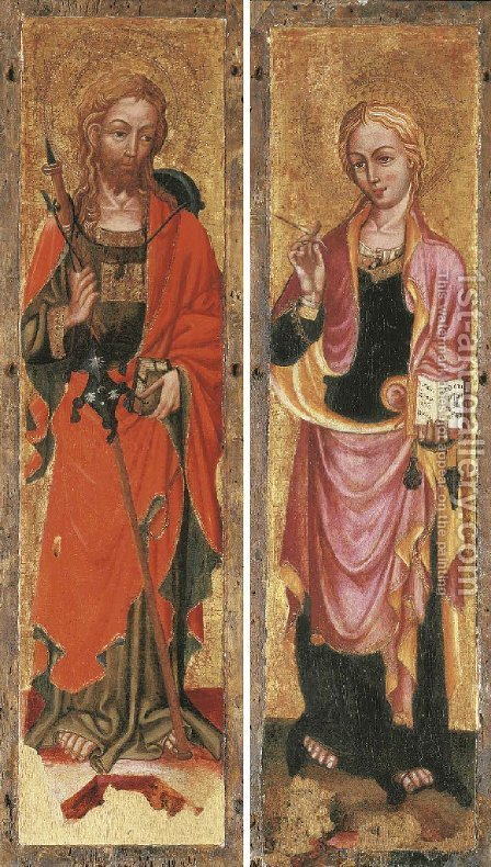 Two Saints by (after) The Zavattari Family - Reproduction Oil Painting