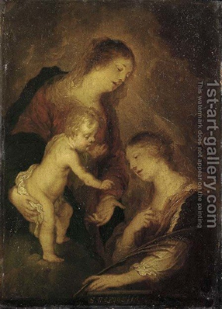 The Madonna and Child with Saint Margaret of Antioch by (after) Theodor Van Thulden - Reproduction Oil Painting