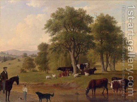 Cows Watering by (after) Thomas Hewes Hinckley - Reproduction Oil Painting