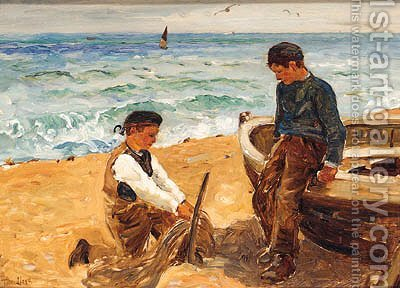 Mending The Nets by (after) Thomas Lloyd - Reproduction Oil Painting