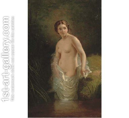 A nymph bating in a stream by (after) Timoleon Carl Von Neff - Reproduction Oil Painting