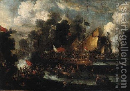 A naval engagement between Turks and Christians by (after) Victor Mahu - Reproduction Oil Painting
