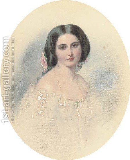 Portrait of a lady by (after)  Vladimir Ivanovich Hau - Reproduction Oil Painting