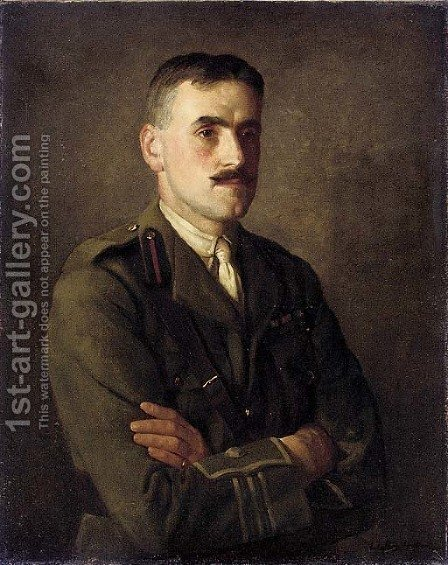 Portrait of a Staff officer of the Royal Army Ordnance Corps with the rank of Major by (after) Walter C. Strich Hutton - Reproduction Oil Painting