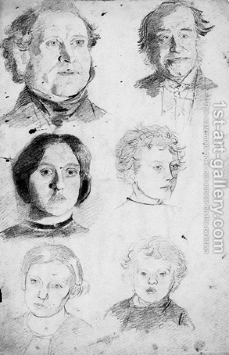 A sheet of head studies drawn by candle light by (after) Walter Howell Deverell - Reproduction Oil Painting
