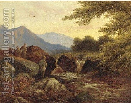 An angler by a rocky stream by (after) Walter Williams - Reproduction Oil Painting