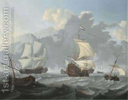 Dutch threemasters and other shipping in choppy waters by (after) Wigerus Vitringa - Reproduction Oil Painting