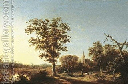A wooded landscape with a shepherd and his flock, a church beyond by (after) Willem Schellinks - Reproduction Oil Painting