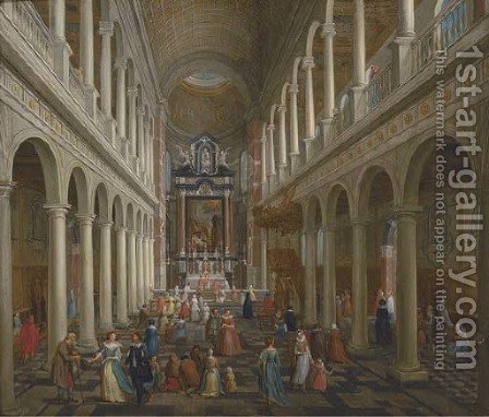 The interior of St. Charles Borromeo, Antwerp, with elegant company by (after) Wilhelm Schubert Van Ehrenber - Reproduction Oil Painting