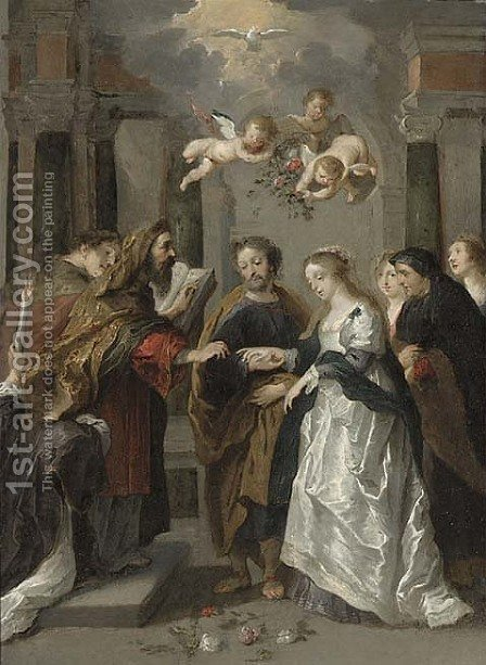 The Marriage Of The Virgin by (after) Willem Van, The Elder Herp - Reproduction Oil Painting