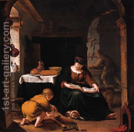 The Holy Family by (after) Willem Van Mieris - Reproduction Oil Painting
