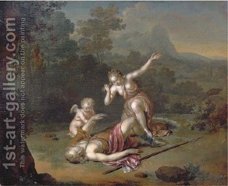 Venus and Adonis by (after) Willem Van Mieris - Reproduction Oil Painting